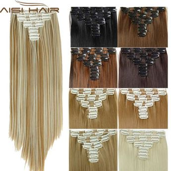 16 Colors Clip In Hair Extensions 25inch Long Straight Fake False Extension Heat Resistant Synthetic