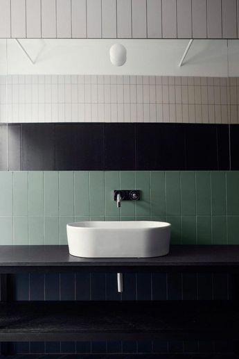 green tile bathroom modern #whitetiledbathroom