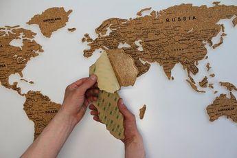 World Cork Map, Discovery,  Travel Cork Board Push Pin, Home Wall Decor, Eco Interior Sticker, Cork