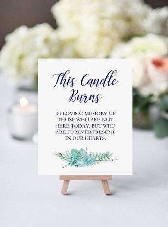 Printable Navy Blue Wedding Memorial Sign, This Candle Burns, Greenery Wedding Signage
