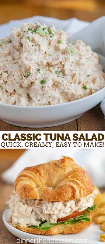 Classic Tuna Salad is the PERFECT combo of creamy and crunchy, made with tuna, mayo, celery, mustard, and seasoning, ready in no time at all!