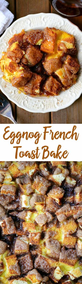 This Eggnog French Toast Bake is the perfect breakfast for overnight guests, holiday brunch, or Christmas morning! Its an easy French Toast Casserole recipe can even be prepared the night before and is a great way to feed the whole family in one fell swoop. #eggnog #frenchtoast #breakfast #breakfastcasserole