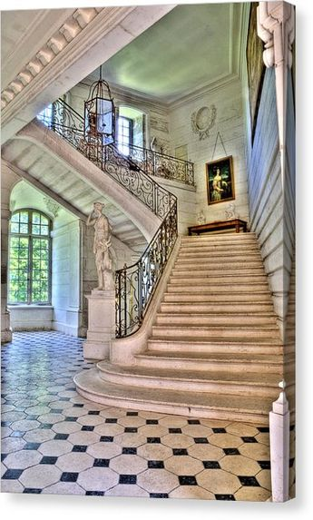 Chateau Stairway Canvas Print