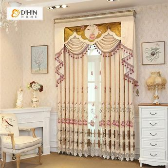 DIHIN HOME Elegant Flowers Embroidered Beige Valance ,Blackout Curtains Grommet Window Curtain for Living Room ,52x84-inch,1 Panel