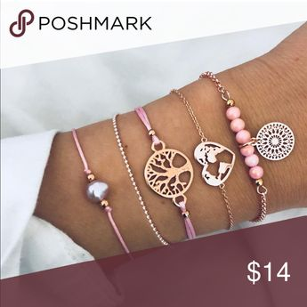 BRAND NEW Bracelets Fashion bracelets, all 5 included. Great together or mix and match for different looks! Will receive a 15% discount if bundled with additional item and shipping is one fee only. Jewelry Bracelets