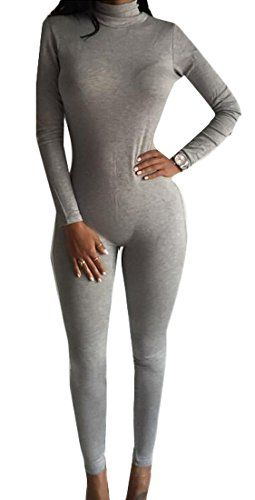 562a9ee75cf8 Zago Womens Sexy Long Sleeve High Neck Bodycon Pants Jumpsuits