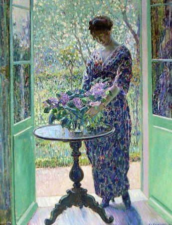 Spring and Lilacs - Frederick Carl Frieseke - circa 1913