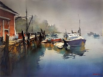 Foggy Morning - Maine by Thomas W. Schaller Watercolor ~ 18 inches x 24 inches