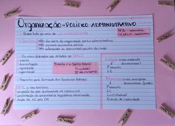 ficha de estudo, resumo, de direito constitucional da cf 88 da parte de organização político administrativa.