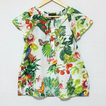 ce336dbab49e Details about J Crew Ratti Into the Wild Bird Butterfly print Ruffle Sleeve  Top 6 8