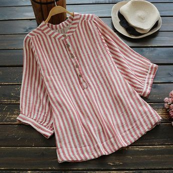 Vintage Striped O-Neck Linen Cotton Button Blouses Tops