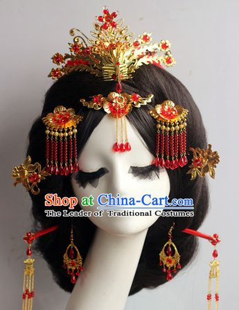 5f2aff498 Handmade Asian Chinese Classical Wedding Hair Accessories Fascinators Hair  Sticks Hairpins Hair Bows Hair Pieces Bridal