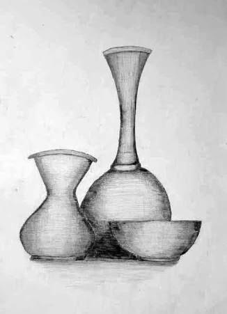 Natürmort Karakalem Vazo Googleda Ara