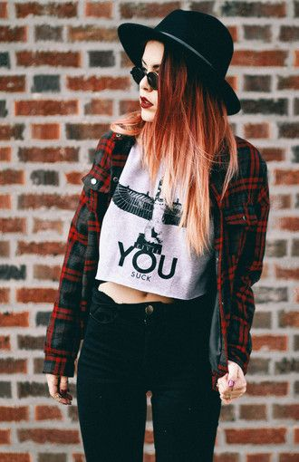 plaid red jeans hat boy london crop tops hipster indie black luanna perez alternative ombre hair blogger boho jacket top