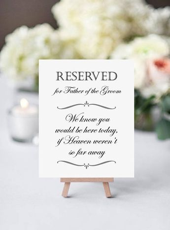 Father Of The Groom Memorial Sign - Reserved Chair Sign - Heaven So Far Away - Printable Memorial Sign