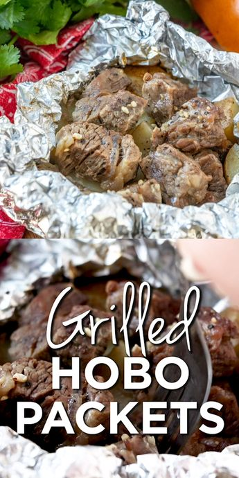 Grilled steak and potato packets