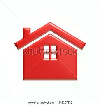 Red house logo. 3D rendering illustration
