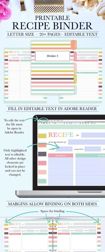 recipe binder printable kit by jessica marie design on cr