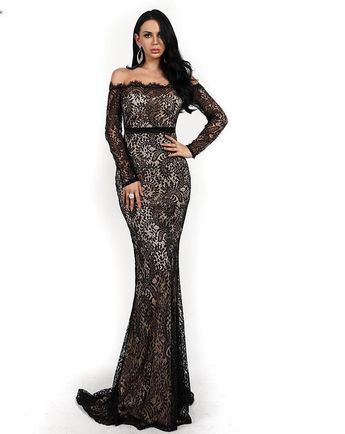 761334fc KELLIPS Sexy Off Shoulder Lace Backless Maxi Elegant Party Dress