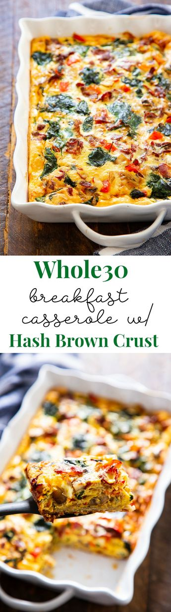 Loaded Breakfast Casserole with Hash Brown Crust (Paleo, Whole30)