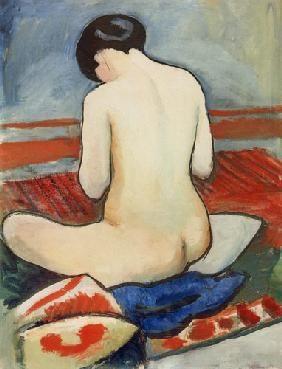 August Macke - nu assis sur des coussins