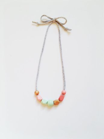 THE OLIVE handpainted wooden bead necklace on by coralandcloud