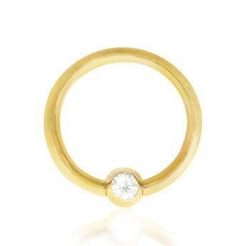 Piercing anneau or jaune boule clipable avec zirconium (1,2mm)