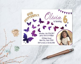 Butterfly Invitation Girl Party Garden Birthday Printable Watercolor