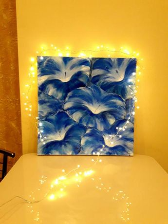 """Original oil painting on canvas, LARGE FLOWERS 19.6""""x 19.6"""" Blue flowers, Gift for her"""