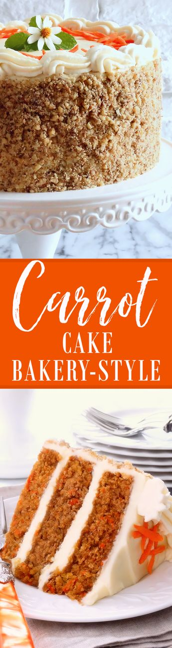 Carrot Cake ~ Best Ever Bakery-Style ~ Our Classic Carrot Cake made bakery-style is moist and tender, spiced and sweetened just right. The buttercream, our popular recipe for Best Ever Cream Cheese Buttercream, and the finely chopped walnut coating, takes Classic Carrot Cake to a whole new level—making it a cake that everyone will love! | #CarrotCake #cake #recipe