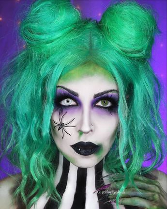 """I'm the ghost with the most, babe."" ~Beetlejuice . . #beetlejuice #halloween #costume #makeup #halloweeninspo #inspo #goth #october #halloweenmakeup #timburton"