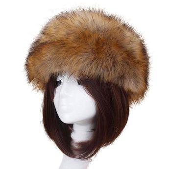 d14416bea68 Women Faux Fur Hat-ShenPourtor Winter Faux Fur Hat Headband Cap Pile Cap -  Coffee