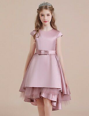 A-Line Asymmetrical Flower Girl Dress - Satin / Tulle Sleeveless Jewel Neck with #fashion #clothing #shoes #accessories #kids #girls (ebay link)