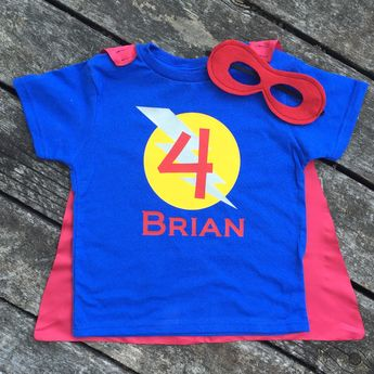 Boys Personalized Superhero T Shirt With Cape And Mask Custom Birthday Or Party Super Hero