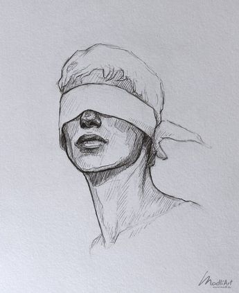 Meine Skizzenbuchkunst I Dreamy Blindfolded Drawing Guy I Cute Sketch I Sketchy Art