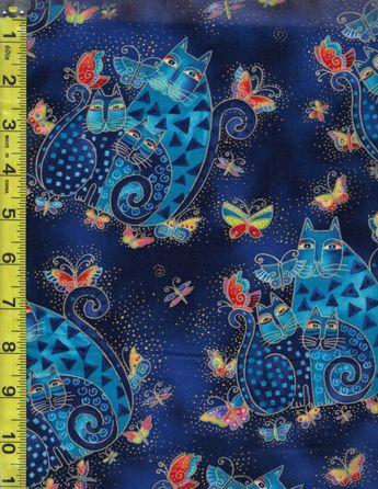 Laurel Burch Fat Quarter Embracing Horses Birds Aqua Cotton Quilting Fabric