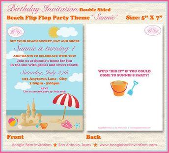 beach ball pool party beach birthday invitation by str