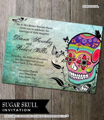 Diy Digital Sugar Skull Invitation Dia De Los Muertos Sa