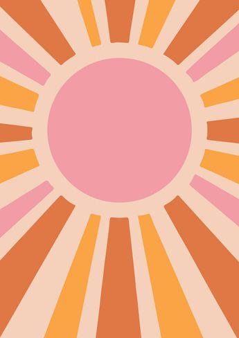 70s SUN ART PRINT | Vintage Sun Print - Solar Star Print - Whimsical Sun Decor - Yellow Sun Art - Retro Poster Print. 24x36 large
