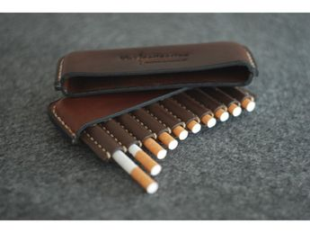 Vintage Leather cigarette case, Gifts for smokers