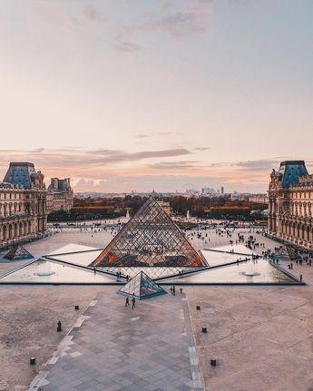 "Beyza M. on Instagram: ""Cour Napoléon at sunset #Paris"""