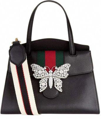 9456a2dca9dc Gucci Leather Totem Top Handle Bag, Black, One Size #Pradahandbags