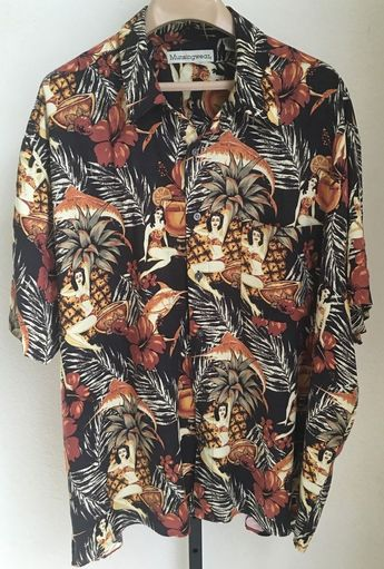 b5cf270e5 Details about Men's 90s Vintage Style 2XL XXL Short Sleeve Rayon Printed  Button Up Shirt