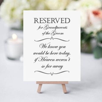 Grandparents Of The Groom - Printable Memorial Sign - Reserved Seat Sign