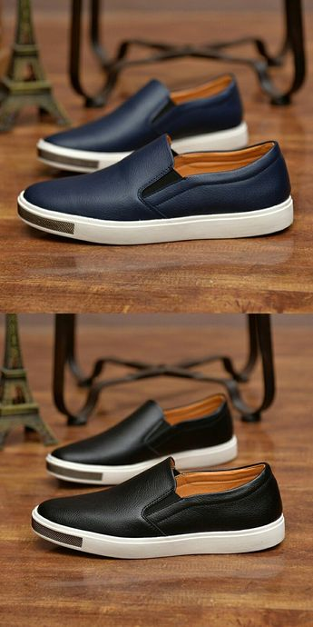 US $25.2 <Click to buy> Prelesty Swag Leather Shoe Men Casual Loafer Simple Design #Shoes