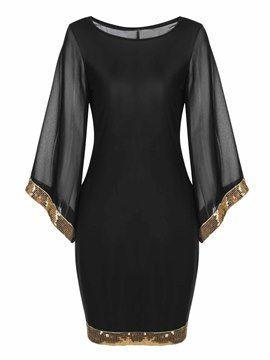 Robe Noir Transparent Slim Moulante en Tulle