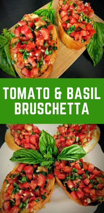 Tomato & Basil Bruschetta Recipe #Vegetarian #Appetizer