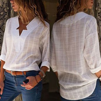 Women Autumn Blouse Shirt Cotton Solid T-shirt Tops V-neck Long Sleeve Check #fashion #clothing #shoes #accessories #womensclothing #tops #ad (ebay link)