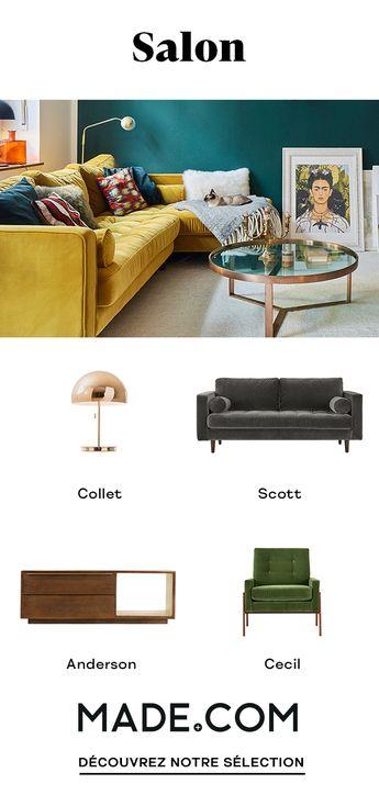 Canapés, tables basses, luminaires ... retrouvez toute notre gamme de produits designs pour un salon stylé et confortable.