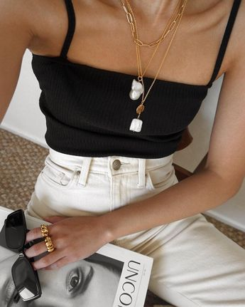 How to Incorporate 4 Summer Trends into 1 Look — Layered Necklaces, Black Tank Top, High-Waisted Jeans, '90s-Inspired Sunglasses